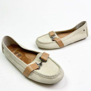 UGG Aven Driving Moccasin White Suede Buckle